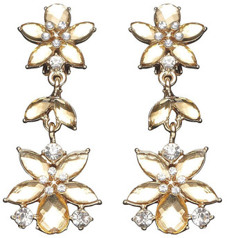 Barcs CRYSTAL FLORAL DROP CLIP-ON EARRINGS