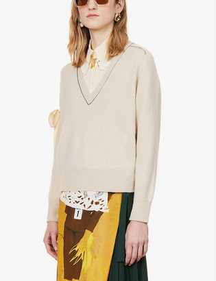 Chloé V-neck cashmere and silk-blend jumper