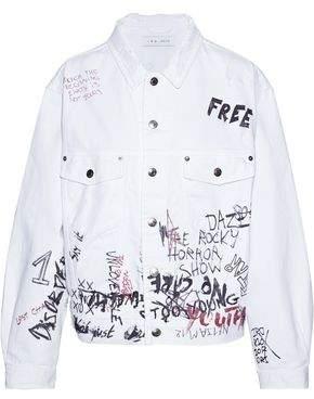 IRO Mary Oversized Distressed Printed Denim Jacket