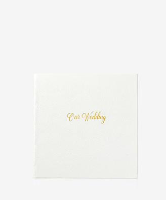 GiGi New York Wedding Journal, White Full Grain Leather