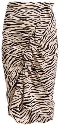 A.L.C. Metz Tiger-Print Stretch Silk Ruffle Skirt