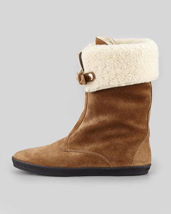 Burberry Shearling-Lined Zip-Front Boot, Dark Brown