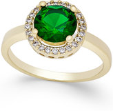 Charter Club Gold-Tone Green Stone Pavé Ring, Only at Macy's