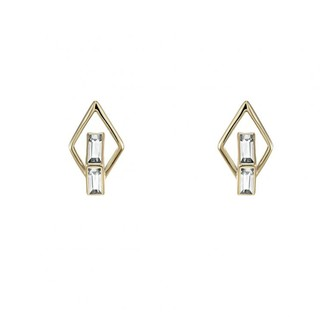 Swarovski Double Diamond Stud Earrings Created Diamonds