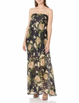 BCBGMAXAZRIA Women's Long Floral Evening Dress