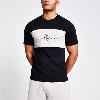 River Island Maison Riviera black textured block T-shirt