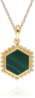 Gemondo Malachite Slice Pendant Necklace In Gold Plated Sterling Silver