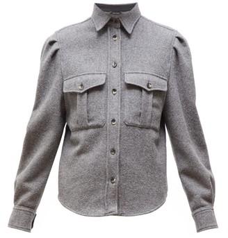 Isabel Marant Florrie Puffed-sleeve Wool-blend Overshirt - Womens - Grey