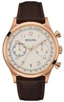 Bulova Rose Gold Ip Leather Strap Watch 97b148