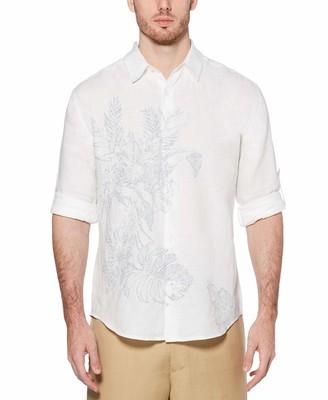 Cubavera Men's Engineered Floral Printed Long Sleeve Woven Shirt