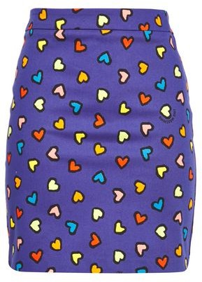 Love Moschino Printed Stretch Cotton-gabardine Mini Pencil Skirt