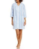 Miss Elaine Embroidered Striped Seersucker Zip Robe