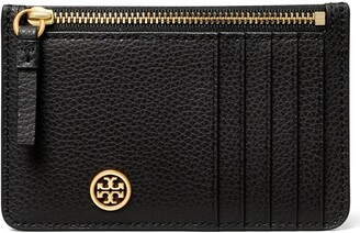 Tory Burch Walker Leather Top Zip Card Case