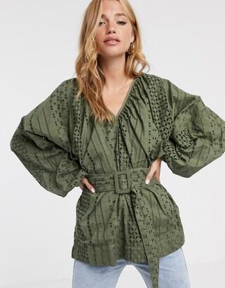 Asos Design DESIGN broderie kimono sleeve top with belt detail-No Colour