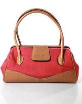 Leonard Red Woven Tan Leather Satchel Handbag