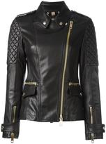 Burberry 'Remmington' biker jacket - women - Cotton/Lamb Skin/Leather/Acetate - 6