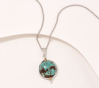 Generation Gems Round Gemstone Cabochon Sterling Silver Necklace