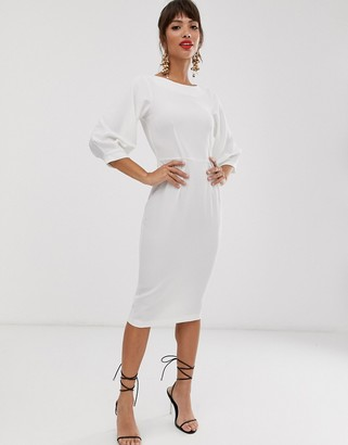 Closet London pencil dress with 3/4 sleeve in ivory-White