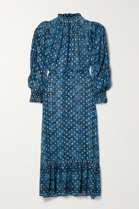 Sea Pintucked Floral-print Fil Coupe Georgette Maxi Dress - Blue
