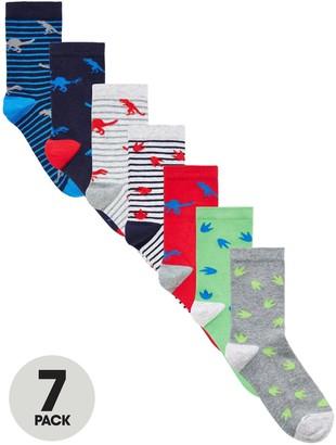 Very Boys 7 Pack Dinosaur Socks - Multi