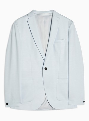 Topman Light Blue Skinny Fit Single Breasted Jersey Blazer With Notch Lapels