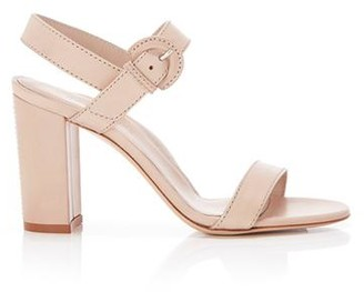Marion Parke Lang Buff | Leather Block Heel Sandal With Buckle