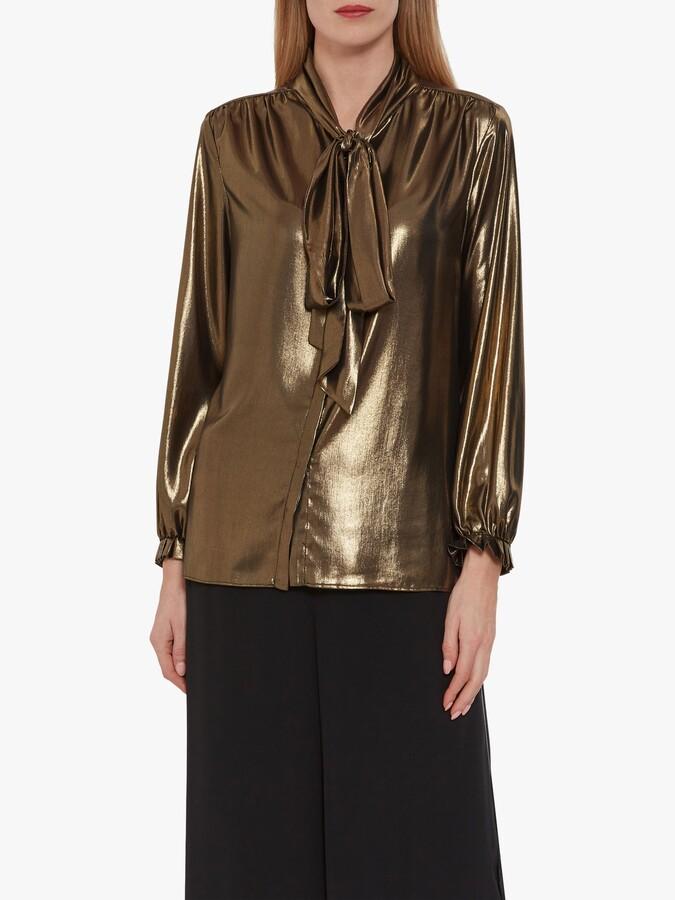 Thumbnail for your product : Gina Bacconi Kezia Metallic Chiffon Blouse, Black/Gold