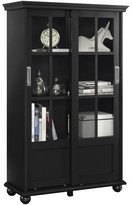 Design Studio A Ashton Oaks Bookcase With Sliding Glass Doors, Black