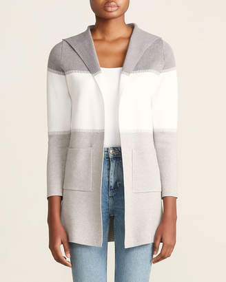 Sioni Long Sleeve Color Block Hooded Cardigan