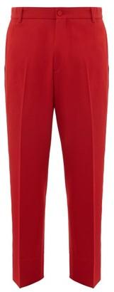 Gucci Straight-leg Logo-stripe Wool Trousers - Red