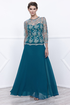 Unique Vintage Teal Three-Quarter Sleeve Floral Lace Chiffon Long Dress