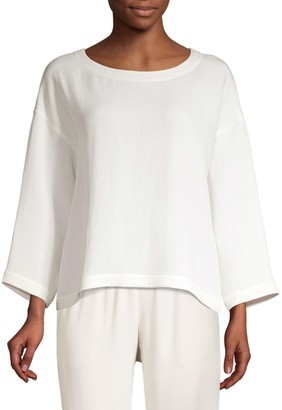 Eileen Fisher Silk-Blend Sponge Box Top