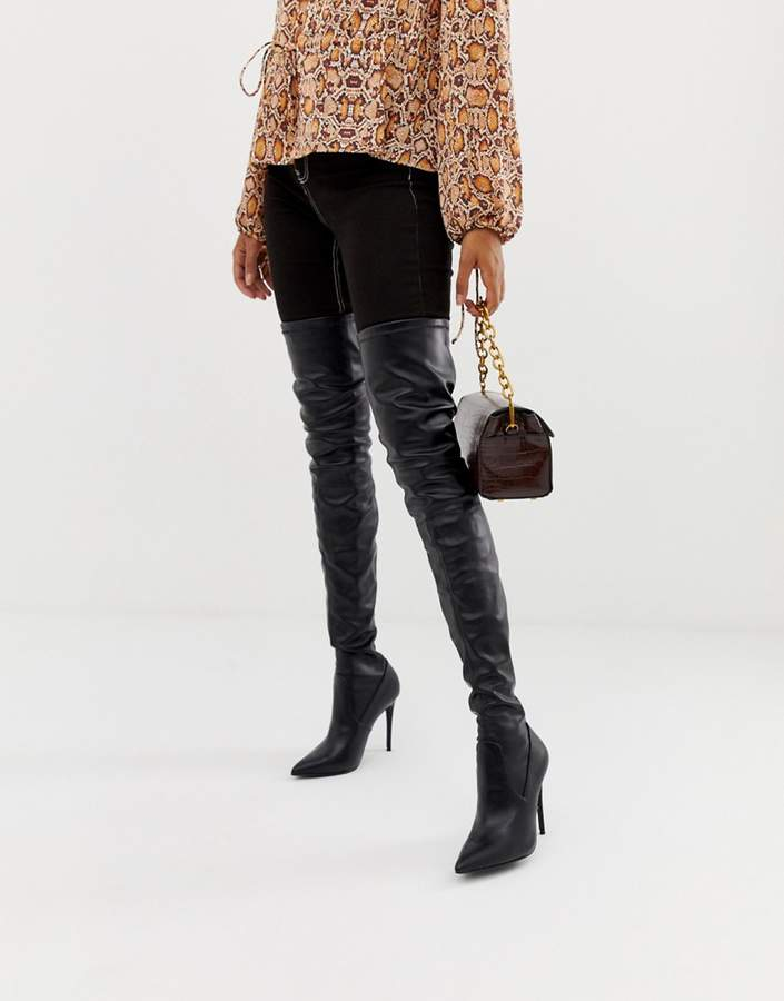 d06574ffd25 Dominique black stretch over the knee heeled boots