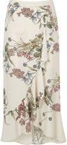 River Island Womens Cream floral frill hem maxi skirt