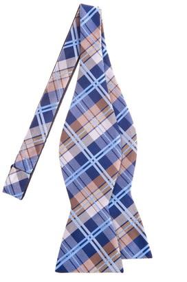 Retreez Elegant Tartan Plaid Check Woven Microfiber Self Tie Bow Tie - Navy Blue and Khaki