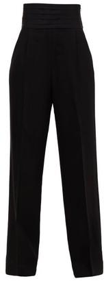 KHAITE Blaine Cummerbund-waist Trousers - Womens - Black