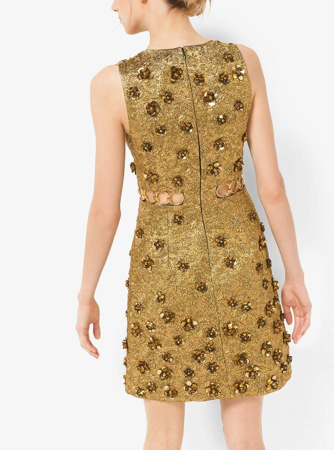 Michael Kors Floral Metallic-Embroidered Brocade Dress