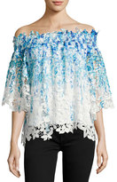 Elie Tahari Diana Off-the-Shoulder Ombre Lace Blouse, Blue
