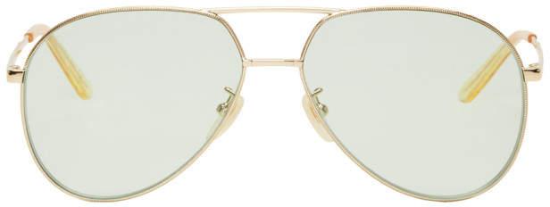 Gucci Gold and Green Aviator Sunglasses