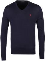 Polo Ralph Lauren Hunter Navy Slim Fit V-neck Merino Wool Sweater