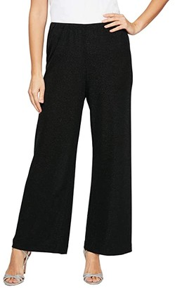Alex Evenings Metallic Knit Straight Leg Pants (Black) Women's Clothing