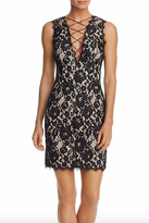 Aidan Mattox Lace Up Lace Dress