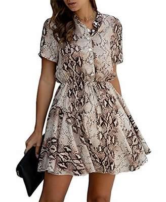 KIRUNDO Women's Summer Snake Print Mini Dress Short Sleeves Button Down High Waist Blouse Collar V Neck Dress with Belt (