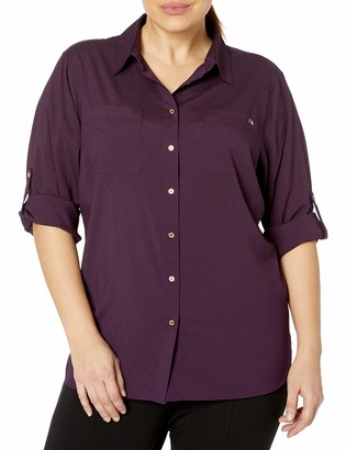 Calvin Klein Women's Roll Sleeve Tunic Blouse (Regular and Plus Sizes)