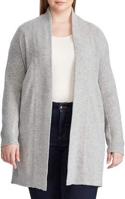 Chaps Plus Cotton-Blend Open-Front Sweater