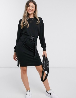 JDY odette midi sweater dress with utility belt in black