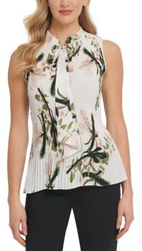 DKNY Petite Floral-Print Pleated Sleeveless Top