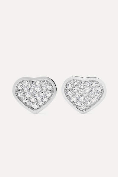 Chopard Happy Hearts 18-karat White Gold Diamond Earrings