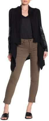 Blank NYC BLANKNYC Denim Faux Leather Trim Shawl Collar Knit Jacket