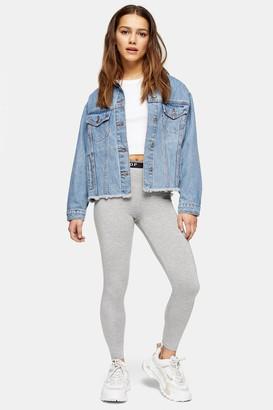 Topshop Womens Petite Branded Elastic Leggings - Grey Marl